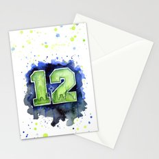 12th Man Seahawks Seattle Go Hawks Art Stationery Cards