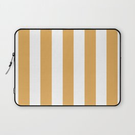 Sunray brown - solid color - white vertical lines pattern Laptop Sleeve