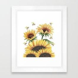Sunflowers and Honey Bees Framed Art Print