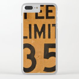 Close up of old speed limit 35 sign. Clear iPhone Case
