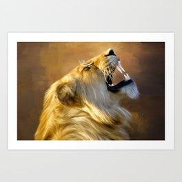 Roaring lion portrait Art Print