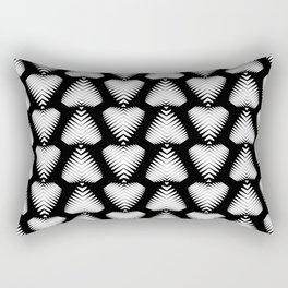 White striped hearts on a black background. Rectangular Pillow