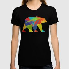 Fractal Geometric bear Black Womens Fitted Tee LARGE