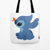lilo and stitch Tote Bags featuring Stitch by Alexbookpages