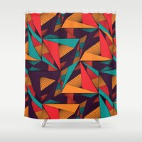 arya Shower Curtains featuring Hexagonal Lines and Triangles by Hinal Arya