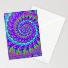 Funky Blue Fractal Pattern Stationery Cards