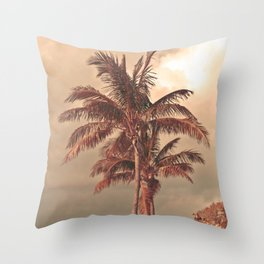Retro Palm Tree Throw Pillow