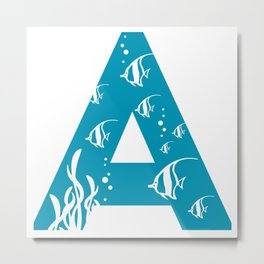 A is for Angelfish - Animal Alphabet Series Metal Print