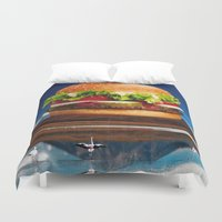 hamburger Duvet Covers featuring Mount Saint Hamburger by Imogen Art