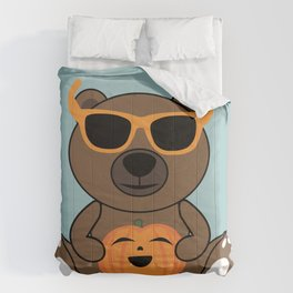 Cool Halloween bear holding pumpkin on Light Blue Comforters