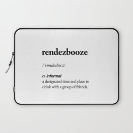 Rendezbooze black and white contemporary minimalism typography design home wall decor bedroom Laptop Sleeve