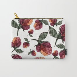 Prairie Rose Flower in Red and Orange Carry-All Pouch
