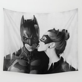BAT AND CAT b&w Wall Tapestry