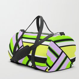 Striped , multi-colored , asymmetric combination pattern . Patchwork . Duffle Bag