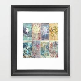 Monoprint collage of leaves Framed Art Print