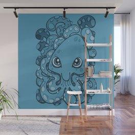 Happy Octopus Squid Kraken Cthulhu Sea Creature - Sailor Blue Wall Mural