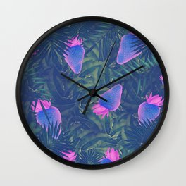 Neon Strawberries in the Night #1 Wall Clock