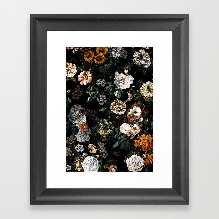 Floral Night Garden Gerahmter Kunstdruck