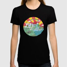 Life is All Right (Color) Womens Fitted Tee Black MEDIUM