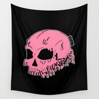 sarcasm Wall Tapestries featuring Dripping With Sarcasm - Pink by zombieCraig by zombieCraig