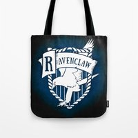 ravenclaw Tote Bags featuring White Ravenclaw Crest by Sharayah Mitchell