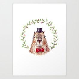 Sir Capybara Art Print