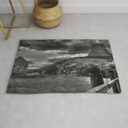 Devil's Tower, Wyoming Black and White Photographic Rug