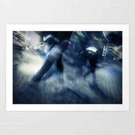 blue rush hour melodrama Art Print