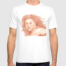 Woman Portrait 3 MEDIUM White Mens Fitted Tee