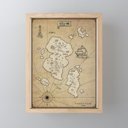 The Treasure Islands, fantasy world map Framed Mini Art Print