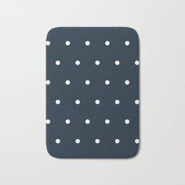 Navy Blue and White Polka Dots Pattern Bath Mat