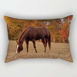 Horse Fall Days of Grazing Rectangular Pillow