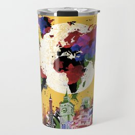 world map watercolor yellow Travel Mug