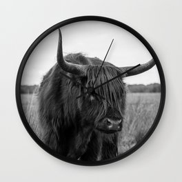 Highland Cow in black and white | Scottish Highlanders, cattle, cows in the Netherlands | Wild animals | Fine art travel and nature photography art print Wall Clock