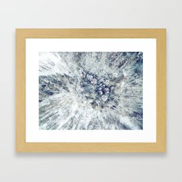 AERIAL. Frozen forest in winter Framed Art Print