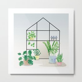 Watercolor potted plants and flowers - spring greenhouse artwork Metal Print