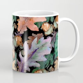 Colorful Woodland Watercolor Oak And Acorn Pattern Coffee Mug