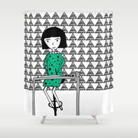 writing Shower Curtains featuring Drawing and Writing by Anna illustrates