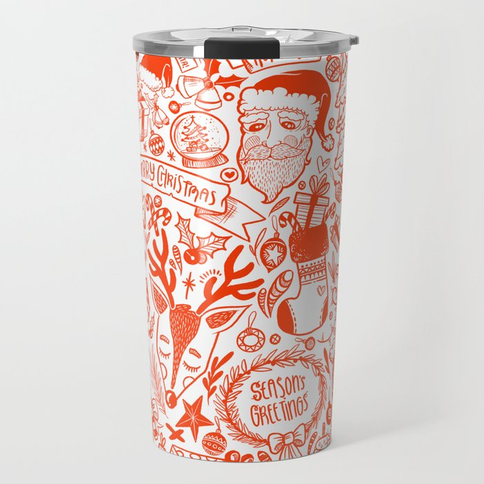 Red detailed Fun Christmas Doodle Pattern Travel Mug