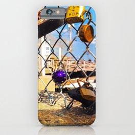 Trapped Rat at Love Locks Bridge in Portland, Maine iPhone Case
