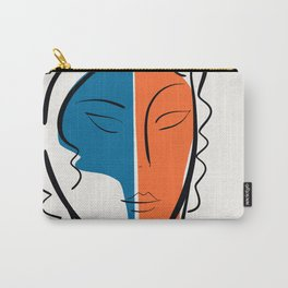 Pop Minimal Portrait in Blue and Orange Carry-All Pouch