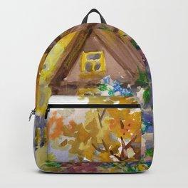 Rural Landscape. Genre Scene. Backpack