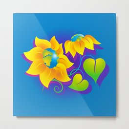 Sunflower World Metal Print