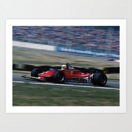 Sketch of F1 Champion Jody Scheckter - year 1979 car 312 T4 Art Print