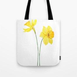 two botanical yellow daffodils watercolor Tote Bag