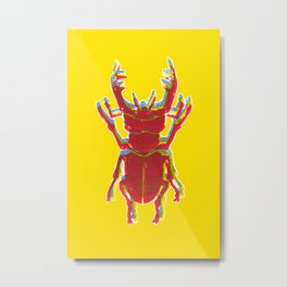 Stag Beetle Tricolore lino cut on yellow background Metal Print