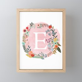 Flower Wreath with Personalized Monogram Initial Letter E on Pink Watercolor Paper Texture Artwork Framed Mini Art Print