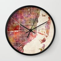 miami Wall Clocks featuring Miami by Map Map Maps