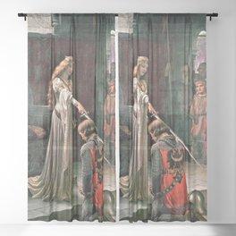 12,000pixel-500dpi - Edmund Blair Leighton - Accolade - Edmund Blair Leighton Sheer Curtain