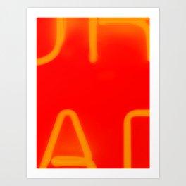 Red Neon Lettering Art Print